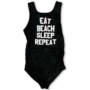 Maternity Swimsuit Eat Beach Sleep Repeat Black